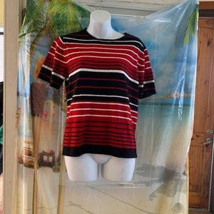 SAG HARBOR WOMEN'S Black Red SWeater S Top